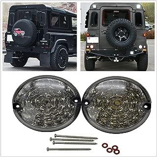 Defender LED Fog Reverse Light Upgrade 95mm – 2pcs Round Led Fog & Reverse Light for Land Rover Defender 2001-2016 Smoked Rear Fog Reverse Lamp Assembly