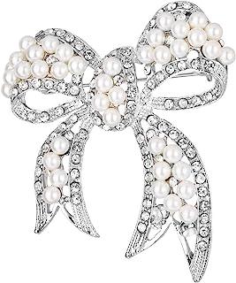 Silver White Round Pearls Ribbon Clear Rhinestones...