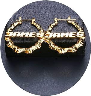 Personalized Bamboo Hoop Custom Earring-Custom name earrings Zircon Jewelry