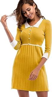 Xmasdeer Women Slim Fit Hi-Lo Knit Dress A-Line Swing Dresses Romper Pleated Skirt