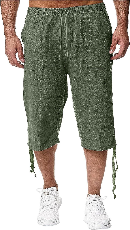 XUNFUN Men's 3/4 Linen Cotton Shorts Casual Elastic Waist Drawstring Harem Shorts Summer Beach Capris Yoga Pants
