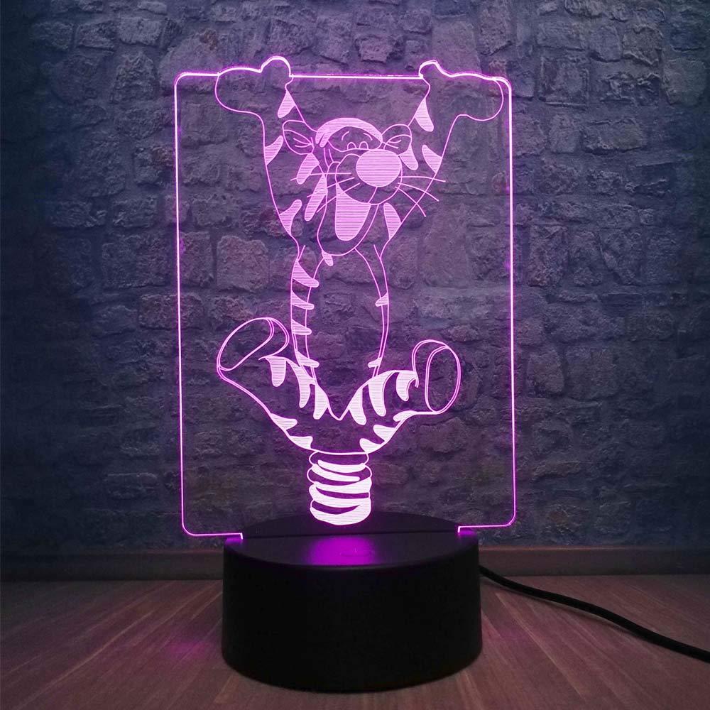 Cartoon 3D Bouncing Tigger LED RGB Night Light 7 Color Change Table Desk Lamp Baby Sleeping Mood Atmosphere Decor Lighting Lovely Child Toys