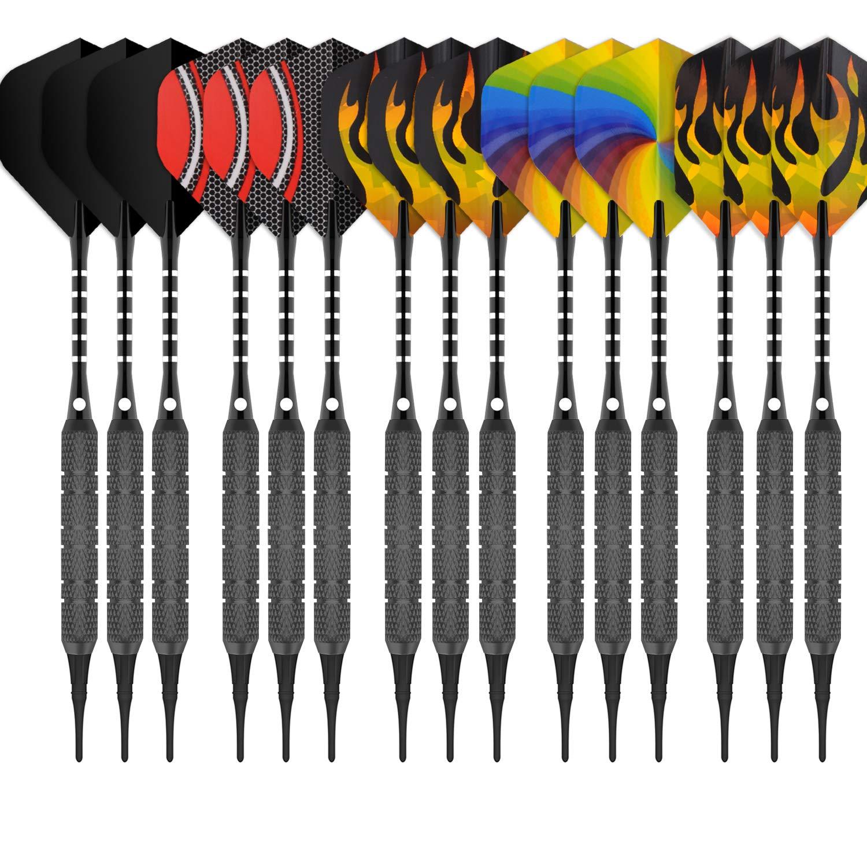CyeeLife 15PCS-Soft tip Darts 18g-180Tips-15Alu shafts-30Flights Standard/&Slim -Sliver//Gold//Black-Gift Box Packaging