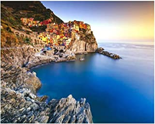 Paint By Numbers manarola village rocks and sea at sunset cinque terre italy slope Digital Coloring Oil Painting Canvas Wi...