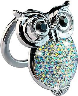جلد دکمه استارت موتور خودرو جلد دکمه شروع فشار Cover Bling Crystal Rhinestone Ring Emblem Sticker Sticker Anti-Scratch Motor Cover Decoration-Premium Twinkling Rhinestones، Steady (Silver)