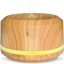 Neloodony 450ML Diffuseur Aromathérapie, Grain de Bois avec 8 Lumières LED de Couleur