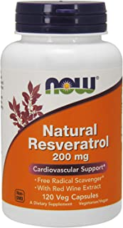 NOW Supplements, Natural Resveratrol 200 mg with Red Wine Extract, 120 Veg Capsules