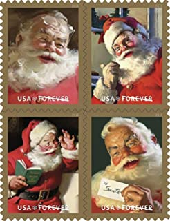 Sparkling Holidays - 2018 USPS Forever First Class Postage Stamp U.S. Forever 50 Cents Coca-Cola Santa Christmas Sheets - Book of 20 Stamps