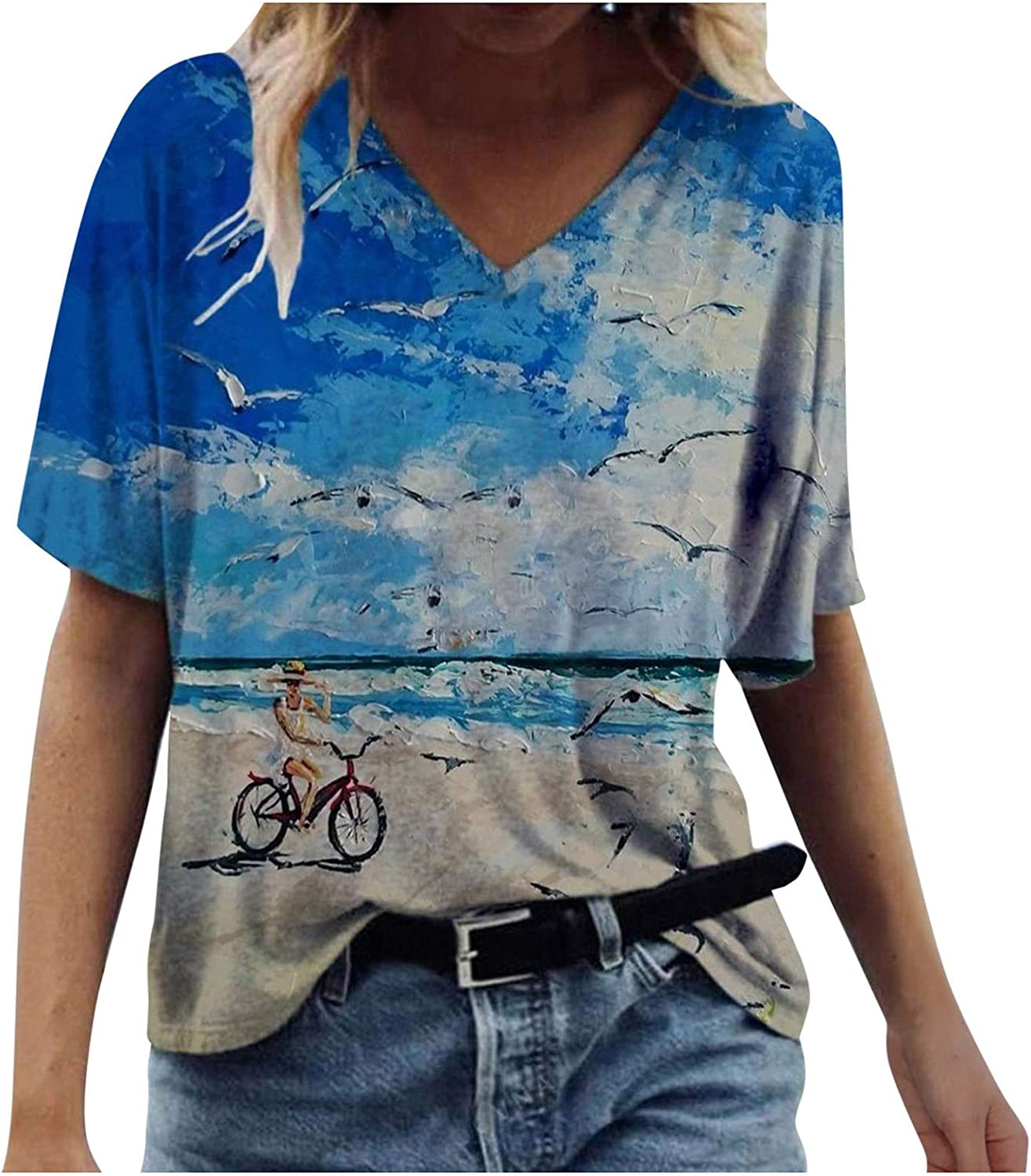 Short Sleeve Tops for Women,Womens Short Sleeve T Shirts Tees Casual Loose Fit Strappy Tshirts Tops