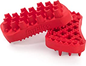 Furbliss Dog Brush for Large Dogs and Pets with Long Hair, Non Metal Grooming Bathing Massaging Deshedding Wet or Dry Silicone Brush - Red