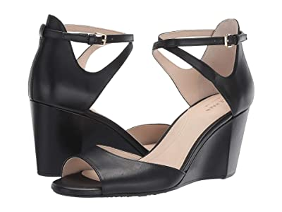 Cole Haan 75 mm Sadie Grand Open Toe Wedge Sandal (Black Leather) Women