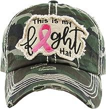 Funky Junque Women's Breast Cancer Awareness Pink Ribbon Logo Hope Shredded Baseball Hat Cap