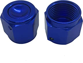 Flare Cap 12AN Aluminum Female Swivel AN12 Hose Fitting Hex Head Plug Nut Port Adapter Blue Pack of 2
