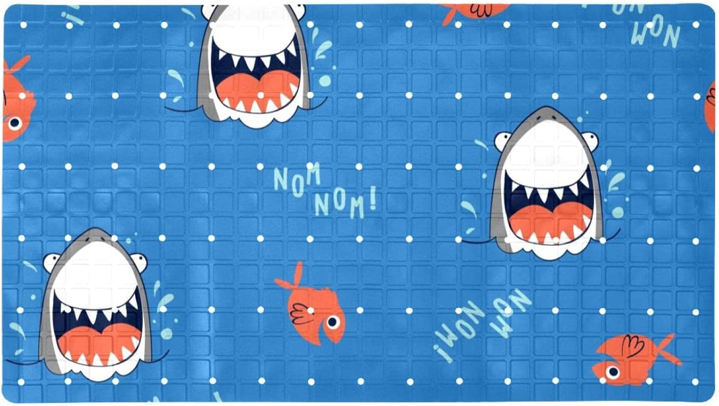 Manufacturer regenerated product Bath Tub Shower Directly managed store Mat 15.7x27.9 inches Happy Shark Laugh Fish Cute