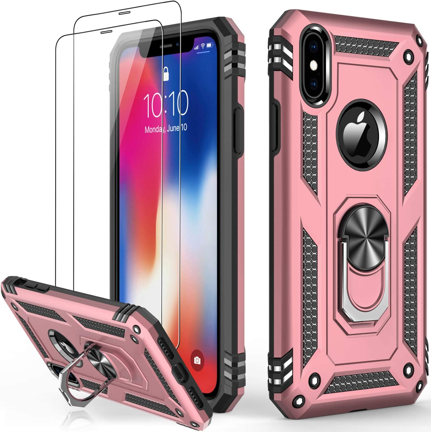 iPhone X Case Rose Gold,iPhone Xs Case with Glass Screen Protector,Military Grade 16ft. Drop Tested Cover with Magnetic Kickstand Protective Phone Case for iPhone Xs/iPhone X