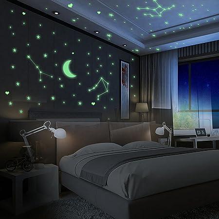 Yosemy Autocollants Lumineux 425 pcs, Lumineuses Stickers Étoiles en 3 Tailles + 1 Lune, Décor de Plafond Fluorescent pour Chambres d'enfants, Chambres de Bébés ou des Fêtes