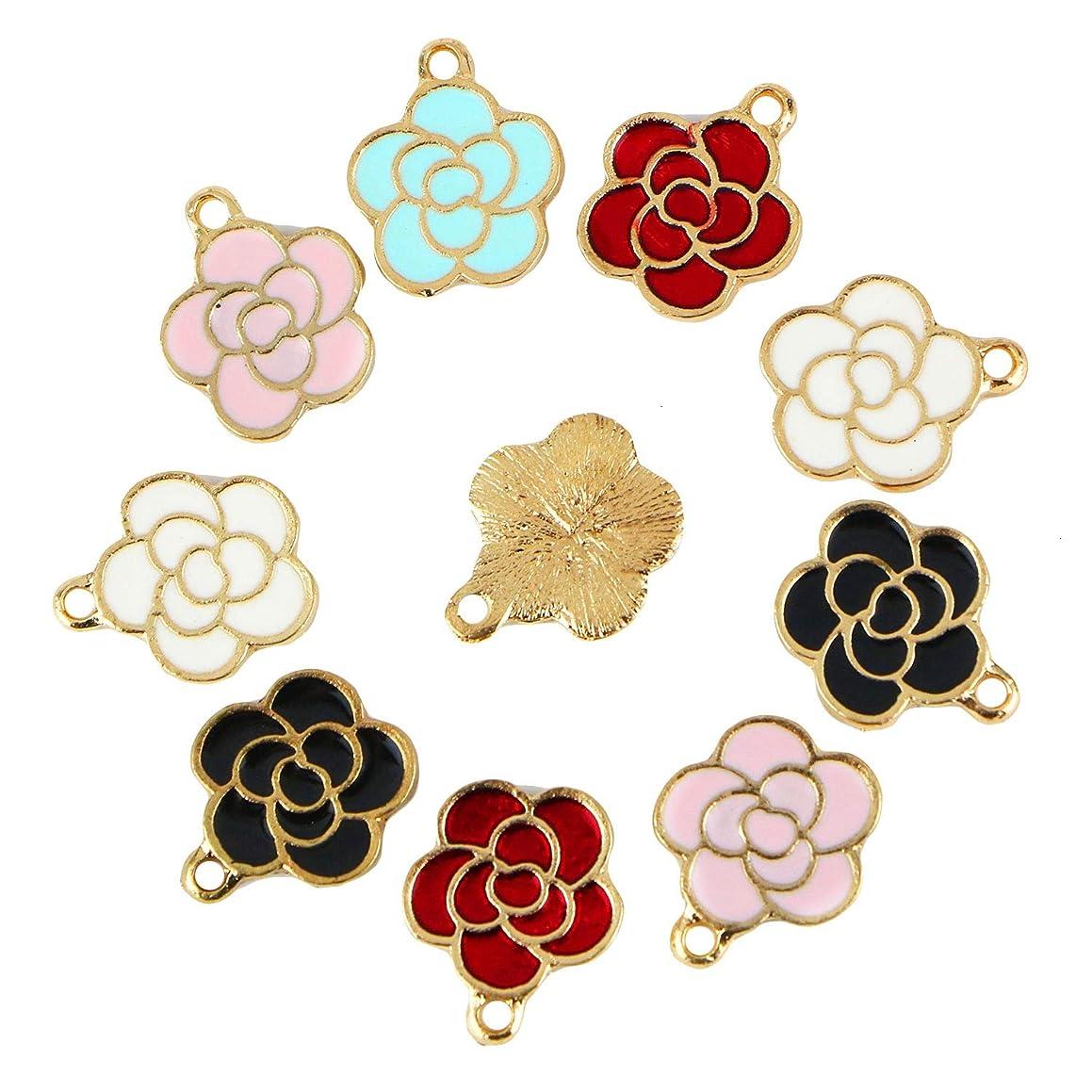 Monrocco 30Pcs Enamel Flower Charm Cute Enamel Rose Flowers Charm Bracelet Charms Pendants for Jewelry Making