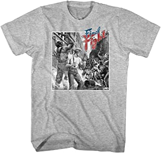 Final Fight Video Arcade Game Fighting Characters Adult T-Shirt Tee Gray