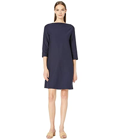 Eileen Fisher Washable Stretch Crepe Bateau Neck 3/4 Sleeve Knee Length Dress (Midnight) Women