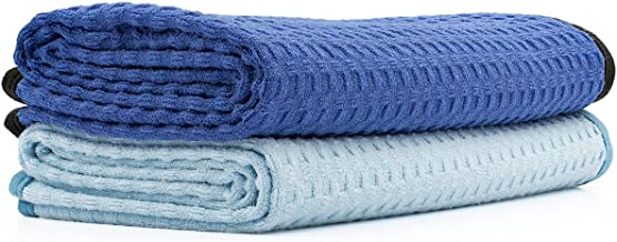 The Rag Company (2-Pack) Dry Me A River Jr 20 in. x 40 in. Professional Korean 70/30 Microfiber Waffle-Weave Drying & Detailing Towels with Silky Soft Suede Edges