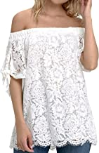 StyleDome Women Off Shoulder Tops Sexy Lace Crochet Blouse Casual Tie Short Sleeve T-Shirt