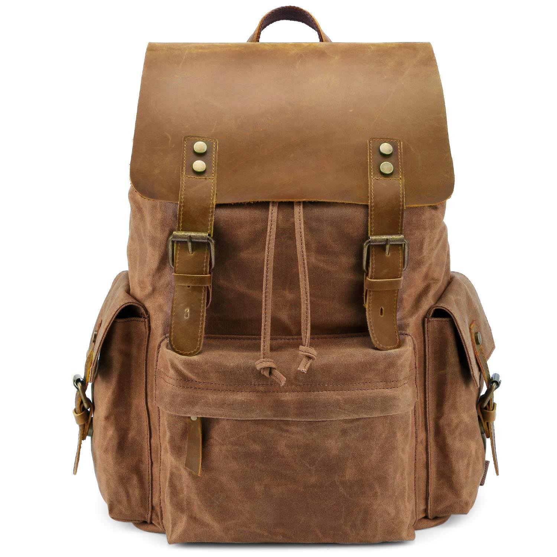 Women Men Zip College Schoolbags Backpack Shoulder Retro Travel Rucksack Outdoor