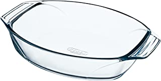 Pyrex Optimum Glass Oval Roaster High Resistance Easy Grip 40x28 cm, 3, Transparent