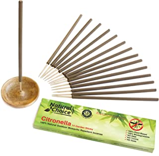 Natural Choice Citronella Incense Sticks with Wooden Holder, The Combo Pack Includes: 14 Garden Sticks with Ash Catcher - Incense Burner