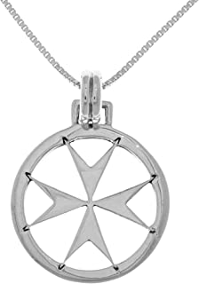 "Jewelry Trends Maltese Templar Cross Sterling Silver Pendant Necklace 18"""