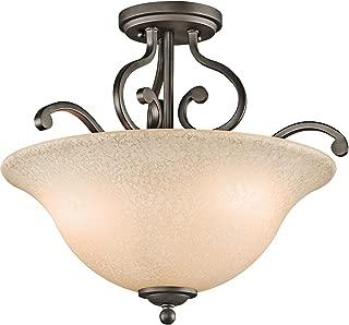 Kichler 43232OZ Camerena Semi-Flush 3-Light, Olde Bronze