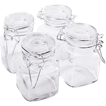 """3 1/4"""" Square Glass 3oz Jar with Hinge Glass Lid for Home Kitchen, Arts & Crafts Projects, Decoration, Snack Foods and Sauces (4 Pack) by Super Z Outlet"""
