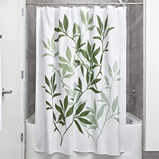 InterDesign Leaves Fabric Shower Curtain Modern Mildew Resistant Bath Liner For Master Bathroom