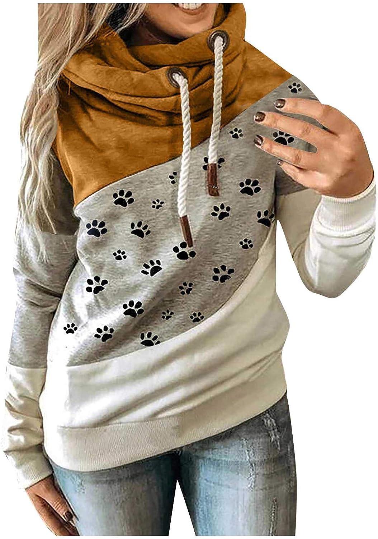 FABIURT Womens Hoodies, Womens Fashion Long Sleeve Color Block Hoodie Casual Loose Pullover Hooded Sweatshirts Tops