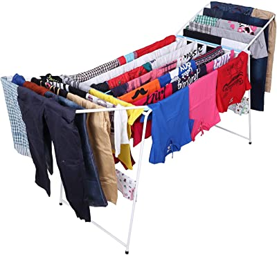 Kurtzy Foldable Steel Laundry Cloth Dryer Stand Organizer for Balcony, Indoor and Outdoor (White, 190 x 55 x 85 cm)