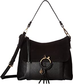 Medium Joan Suede & Leather Shoulder Bag