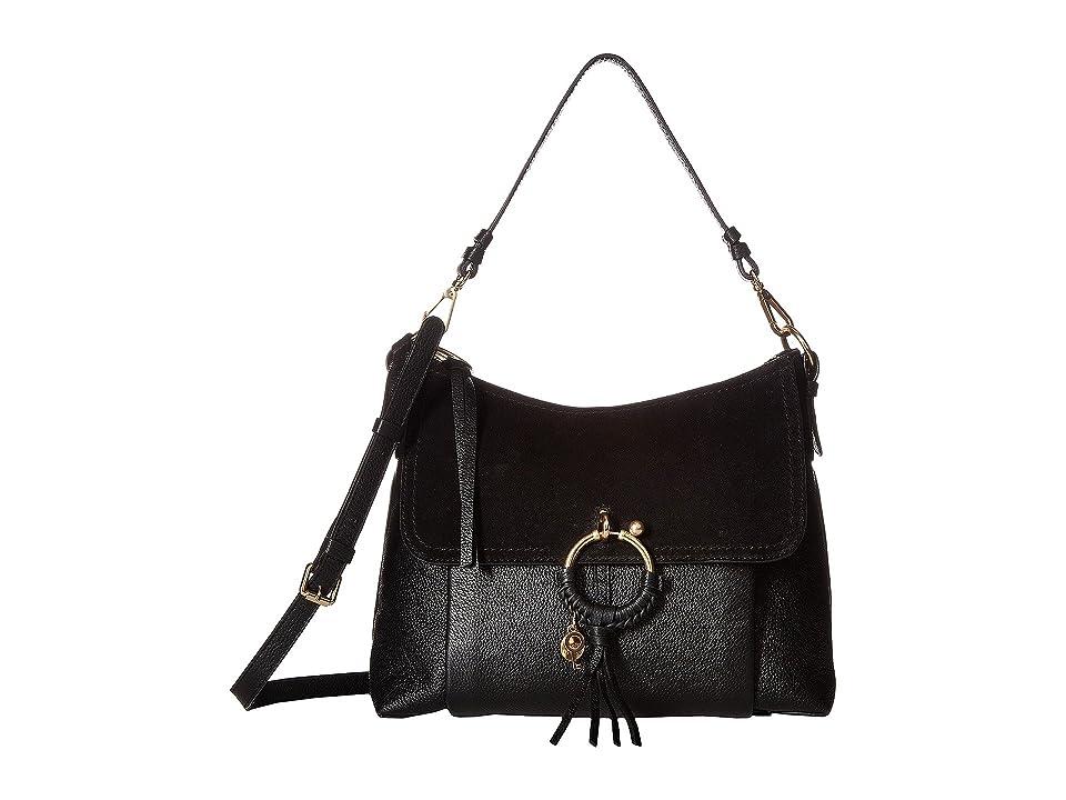 See by Chloe Medium Joan Suede Leather Shoulder Bag (Black) Shoulder Handbags