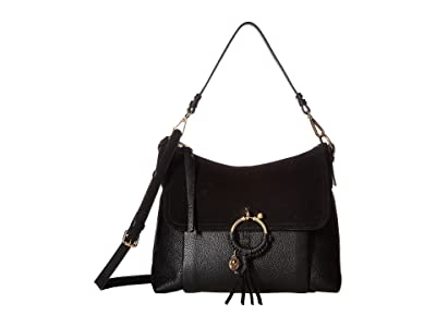 See by Chloe Medium Joan Suede Leather Shoulder Bag (Black) Shoulder Handbags