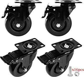 """Moogiitools 4"""" Swivel Rubber Caster wheels with Safety Dual Locking Heavy Duty 1200lbs Casters Set of 4 Black (All with Brake)"""