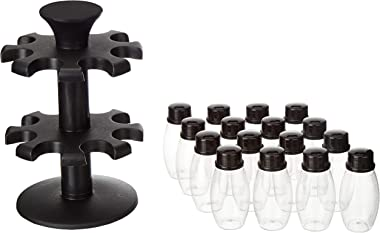 Amazon Brand - Solimo Upright Revolving Plastic Spice Rack, Oval, 16 Pieces