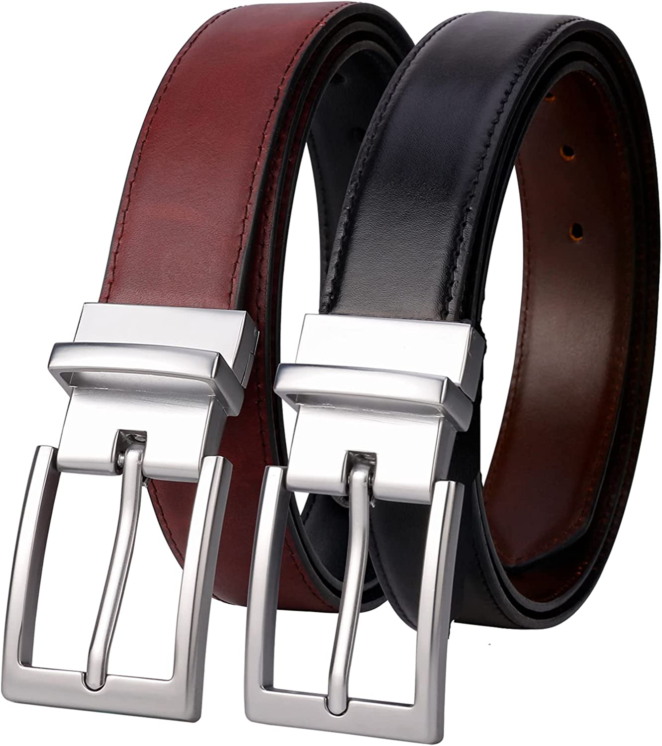 Lavemi Mens Belt Reversible 100% Italian Cow Leather Dress Casual Belts for men,One Reverse for 2 Colors,Trim to Fit