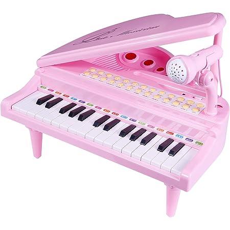 SGILE Piano Juguete con Micrófono para Niños, 31 Teclas Instrumento Educativo Juguete de Musical Mic, Cantando Desarrollo Musical, Enlace de Audio ...