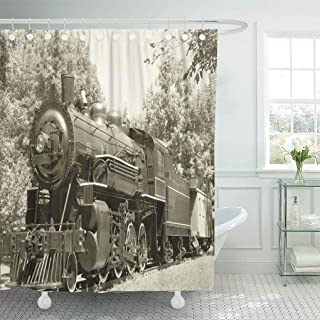 Semtomn Shower Curtain Train Old Vintage Steam Engine in Sepia Railroad Fashioned Shower Curtains Sets with 12 Hooks 72 x 72 Inches Waterproof Polyester Fabric