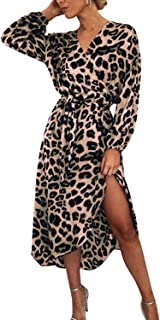 Auxo Womens Leopard Sexy V-Ncek Maxi Dresses Faux Wrap Long Sleeve Cocktail Party Prom Dress