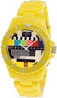 Retro Classic Unisex Testpage Closedown TV Screen Test Pattern Women Men Plastic Bracelet Watch Ladies Watch Mens Watch Wristwatch Yellow including Watch Box and Bracelet Shorter