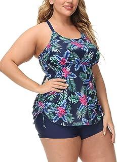 Hanna Nikole Tankini Swimsuit for Women Plus Size Printed Bathing Suit Athletic 2 Piece Swimwear