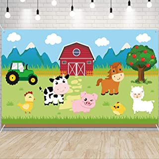 Farm Animals Party Decorations - Barnyard Theme Party Supplies 73'' x 43'' Outdoor Photography Background Kids Birthday Ba...