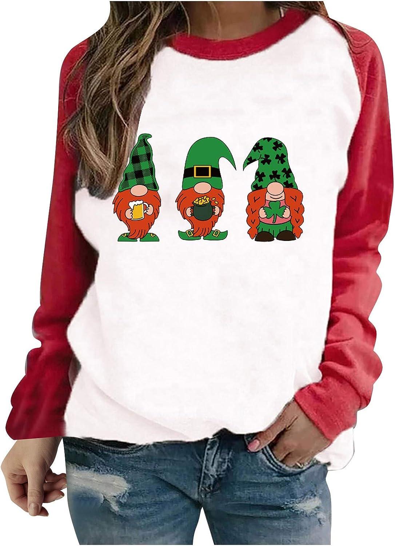 Womens Long Sleeve Funny Irish Shamrock Shirt Print Hat Dress Tops O-Neck Pullover