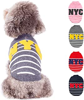 kyeese Dog Sweaters for Small Dogs with Leash Hole NYC Dog Sweater Strip Pullover Knit Warm Pet Sweaters