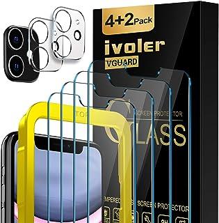 iVoler 4 Stuks Screen Protector + 2 Stuks Camera Lens Protector Compatibel met iPhone 11 en iPhone XR 6,1 inch, Gehard Gla...