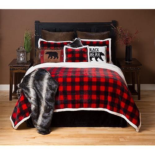 Carstens Lumberjack Red Plaid Plush Bedding Set, Queen